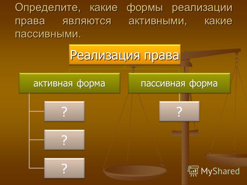 Определите, какие формы реализации права являются активными, какие пассивными. Реализация права активная форма ? ? ? пассивная форма ?