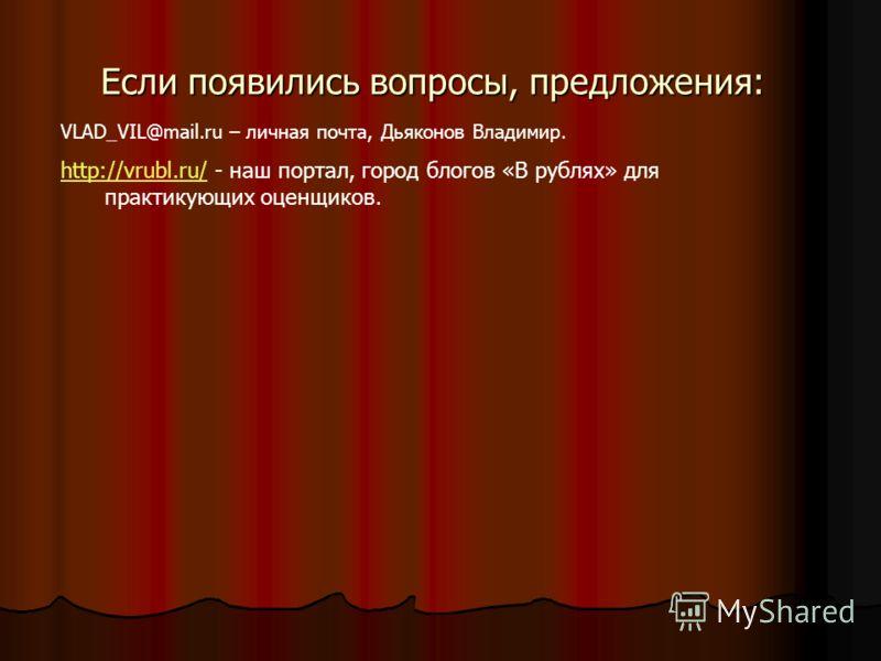 Если появились вопросы, предложения: VLAD_VIL@mail.ru – личная почта, Дьяконов Владимир. http://vrubl.ru/http://vrubl.ru/ - наш портал, город блогов «В рублях» для практикующих оценщиков.
