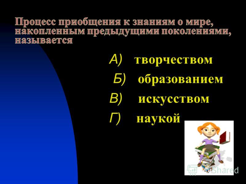 А) творчеством Б) образованием В) искусством Г) наукой
