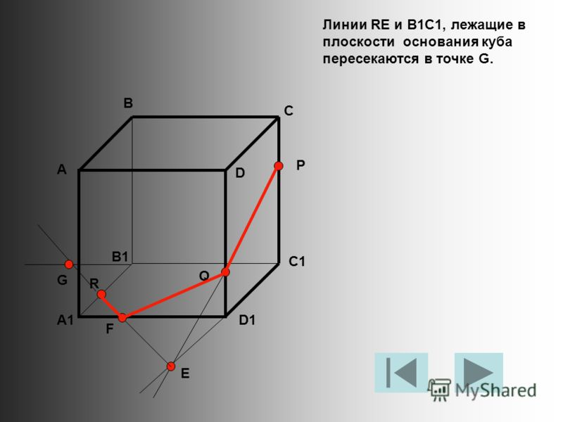Линии RE и B1C1, лежащие в плоскости основания куба пересекаются в точке G. А В С D A1 B1 C1 D1 R P Q E F G