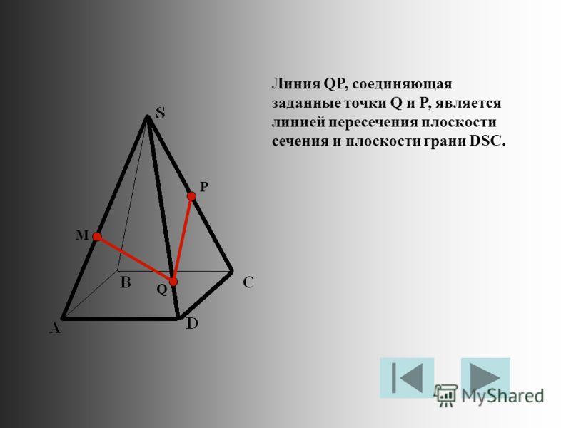 M P Q Линия QP, соединяющая заданные точки Q и P, является линией пересечения плоскости сечения и плоскости грани DSC.