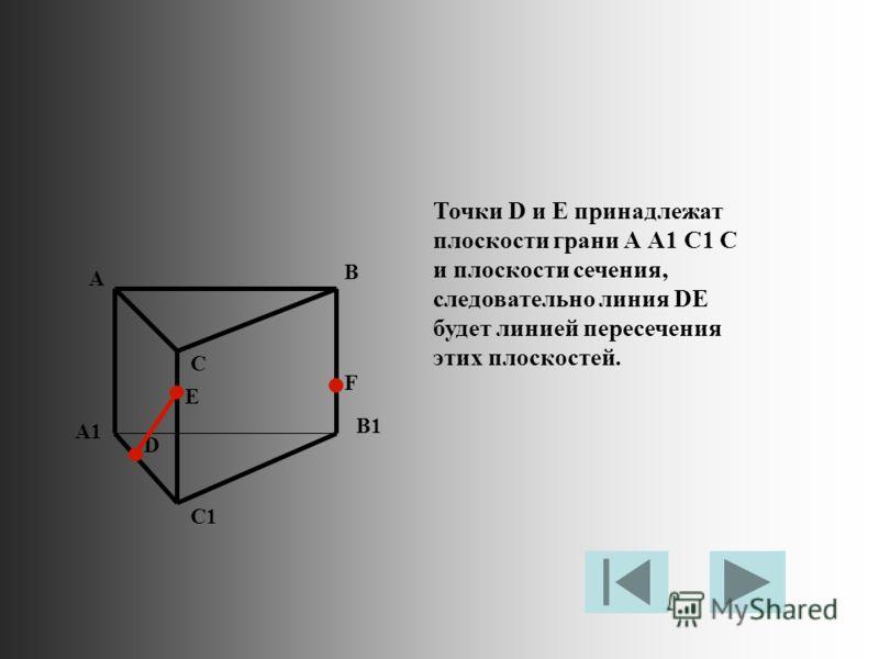 Точки D и E принадлежат плоскости грани А А1 С1 С и плоскости сечения, следовательно линия DE будет линией пересечения этих плоскостей. A B C A1 B1 C1 D E F