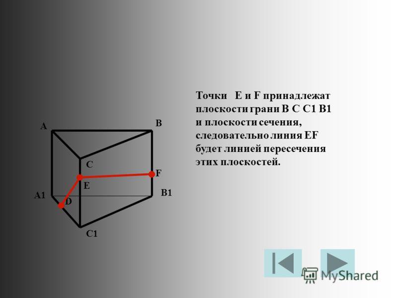 Точки E и F принадлежат плоскости грани B C C1 B1 и плоскости сечения, следовательно линия EF будет линией пересечения этих плоскостей. A B C A1 B1 C1 D E F