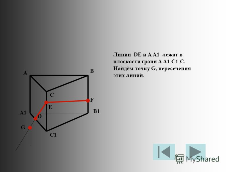 Линии DE и A A1 лежат в плоскости грани A A1 C1 C. Найдём точку G, пересечения этих линий. A B C A1 B1 C1 D E F G
