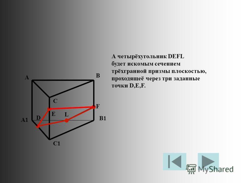А четырёхугольник DEFL будет искомым сечением трёхгранной призмы плоскостью, проходящеё через три заданные точки D,E,F. A B C A1 B1 C1 D E F L