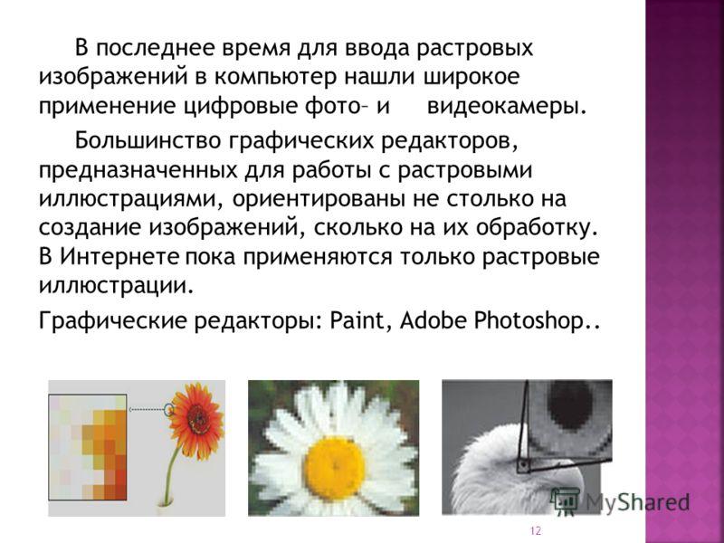 В последнее время для ввода растровых изображений в компьютер нашли широкое применение цифровые фото– и видеокамеры. Большинство графических редакторов, предназначенных для работы с растровыми иллюстрациями, ориентированы не столько на создание изобр