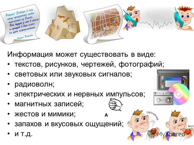 Информация может существовать в виде: текстов, рисунков, чертежей, фотографий; световых или звуковых сигналов; радиоволн; электрических и нервных импульсов; магнитных записей; жестов и мимики; запахов и вкусовых ощущений; и т.д.