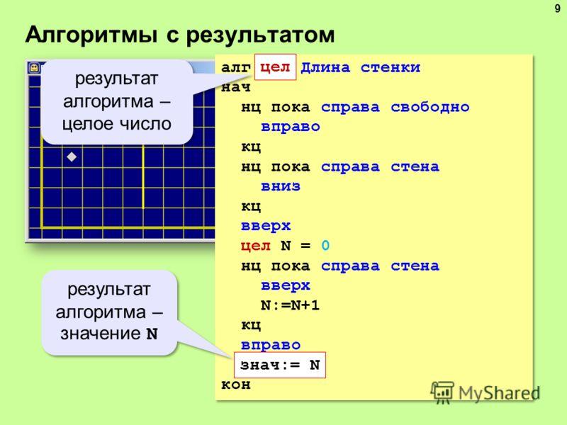 Алгоритмы с результатом 9 алг цел Длина стенки нач нц пока справа свободно вправо кц нц пока справа стена вниз кц вверх цел N = 0 нц пока справа стена вверх N:=N+1 кц вправо знач:= N кон алг цел Длина стенки нач нц пока справа свободно вправо кц нц п