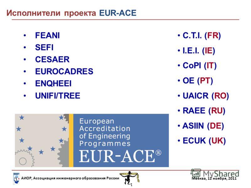 АИОР, Ассоциация инженерного образования России Москва, 12 ноября, 2011 FEANI SEFI CESAER EUROCADRES ENQHEEI UNIFI/TREE C.T.I. (FR) I.E.I. (IE) CoPI (IT) OE (PT) UAICR (RO) RAEE (RU) ASIIN (DE) ECUK (UK) Исполнители проекта EUR-ACE
