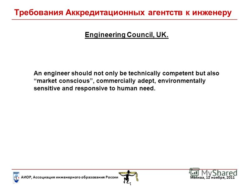 АИОР, Ассоциация инженерного образования России Москва, 12 ноября, 2011 Engineering Council, UK. An engineer should not only be technically competent but also market conscious, commercially adept, environmentally sensitive and responsive to human nee