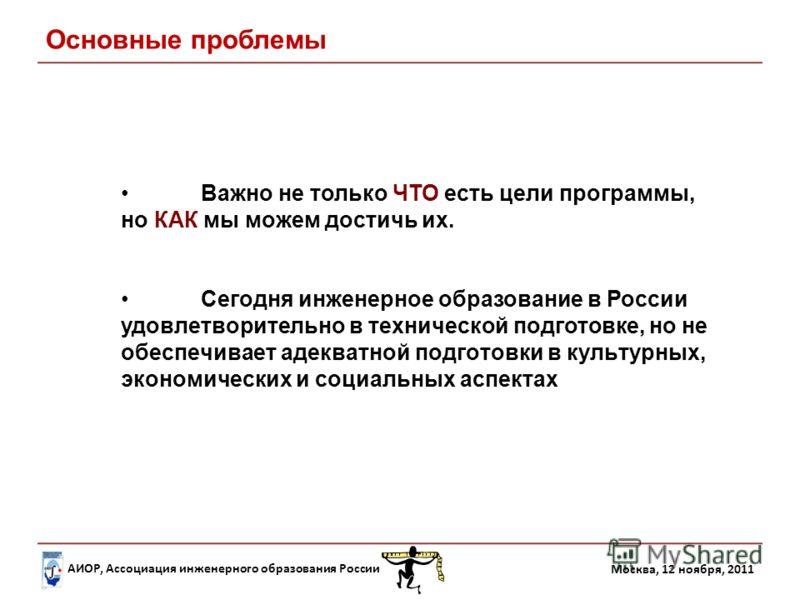 АИОР, Ассоциация инженерного образования России Москва, 12 ноября, 2011 Важно не только ЧТО есть цели программы, но КАК мы можем достичь их. Основные проблемы Сегодня инженерное образование в России удовлетворительно в технической подготовке, но не о