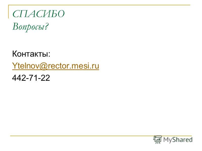СПАСИБО Вопросы? Контакты: Ytelnov@rector.mesi.ru 442-71-22