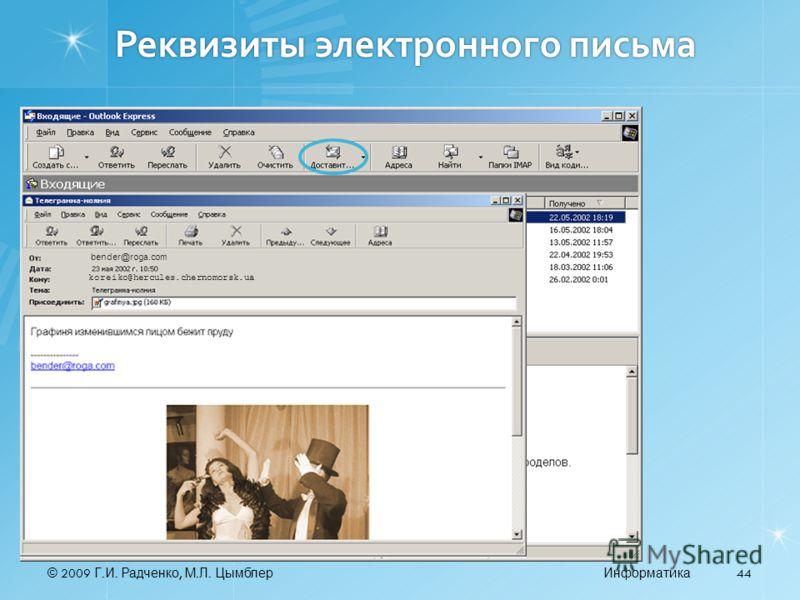 © 2009 Г. И. Радченко, М. Л. ЦымблерИнформатика 44 Реквизиты электронного письма bender@roga.com koreiko@hercules.chernomorsk.ua
