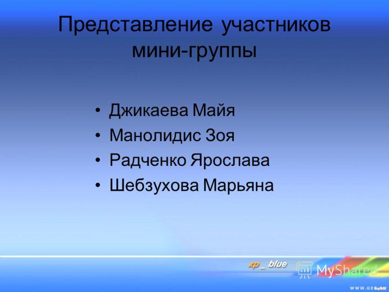 Представление участников мини-группы Джикаева Майя Манолидис Зоя Радченко Ярослава Шебзухова Марьяна