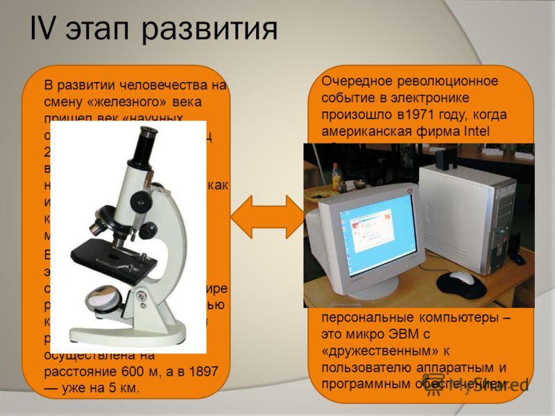 IV этап развития В развитии человечества на смену «железного» века пришел век «научных открытий» с 16 в по конец 20в. В этот период возрастает количество научных открытий: таких как изобретение телескопа, книгопечатания, микроскопа. В 1895 русский фи