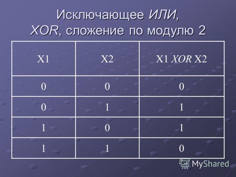Исключающее ИЛИ, XOR, сложение по модулю 2 Х1Х2Х1 XOR Х2 000 011 101 110