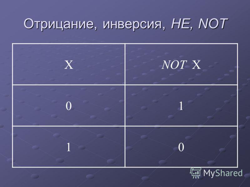 Отрицание, инверсия, НЕ, NOT ХNOT Х 01 10