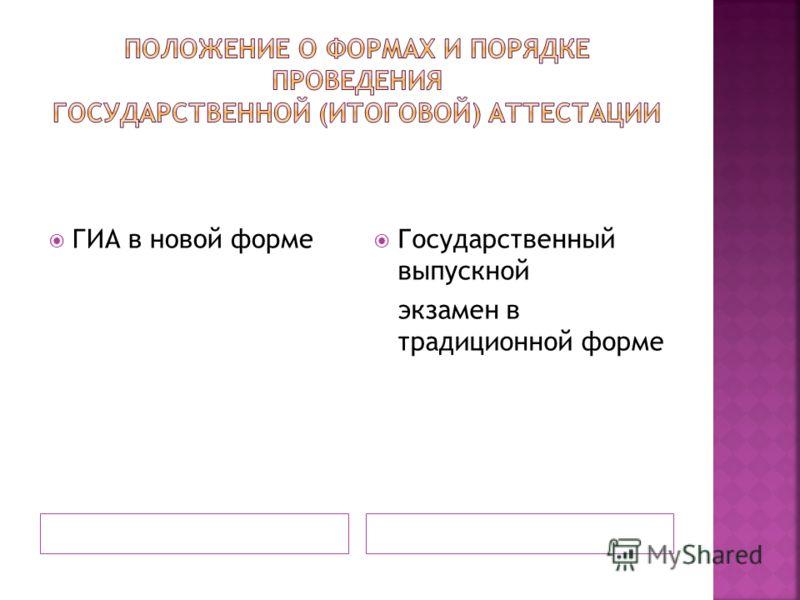 ГИА в новой форме Государственный выпускной экзамен в традиционной форме