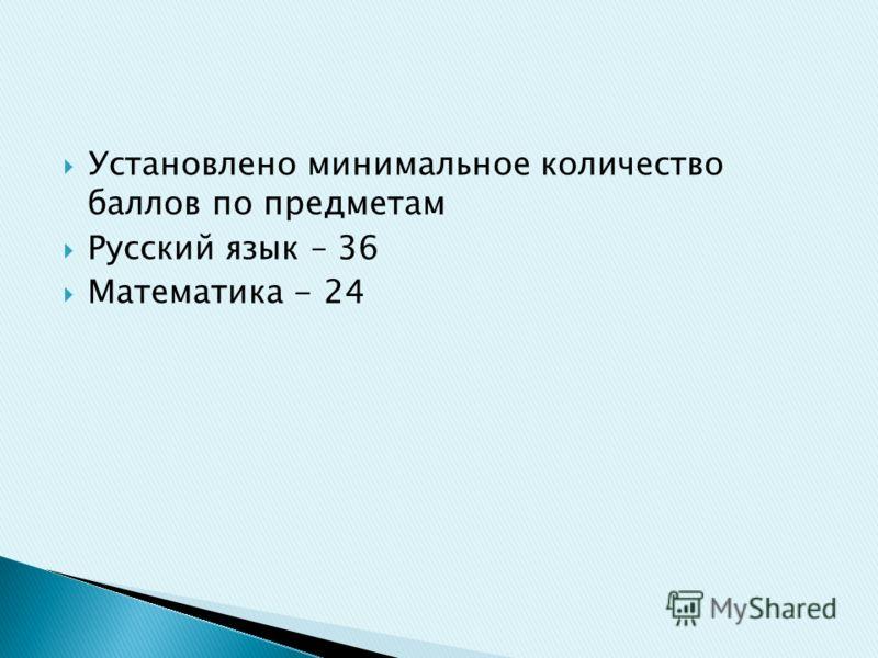 Установлено минимальное количество баллов по предметам Русский язык – 36 Математика - 24