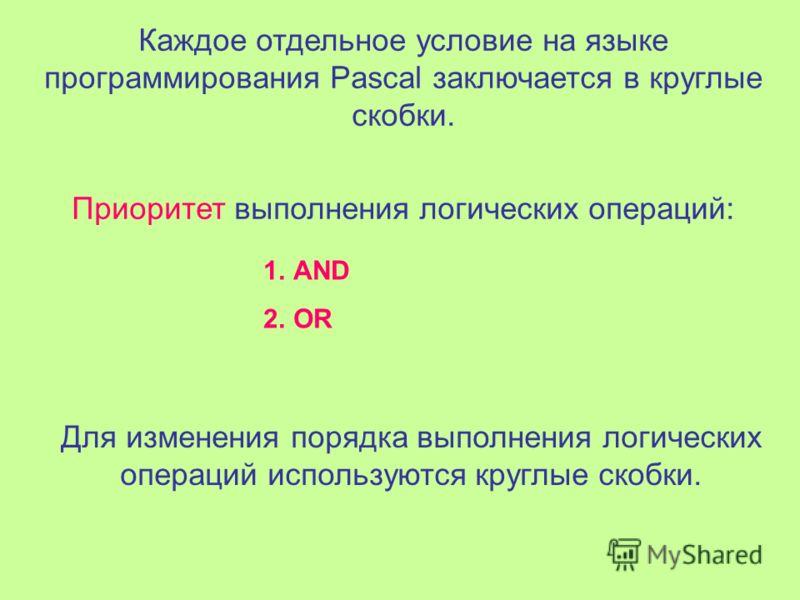 Общий вид команды ветвления на языке программирования Pascal: IF условие THEN оператор 1 ELSE оператор 2 В составных условиях между отдельными условиями ставятся соединительные слова: AND (И) или OR (ИЛИ) Используется, если все перечисленные условия