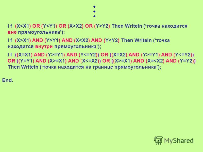 X, YX, Y X1,Y1 X2,Y2 1. Точка находится вне прямоугольника, когда: X X2 или Y>Y2 2. Точка находится внутри прямоугольника, когда: X>X1 и X Y1 и Y=Y1 и Y=Y1 и Y=X1 и X=X1 и X