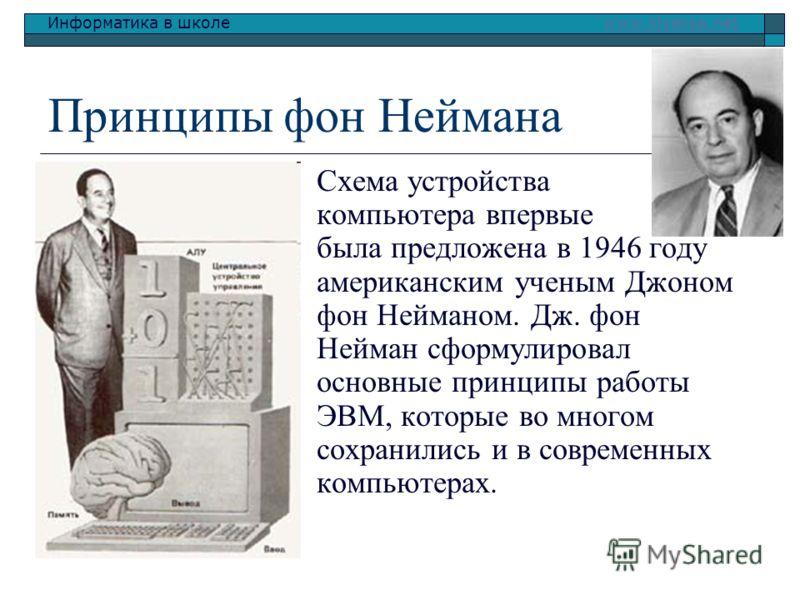 Информатика в школе www.klyaksa.netwww.klyaksa.net Принципы фон Неймана Схема устройства компьютера впервые была предложена в 1946 году американским ученым Джоном фон Нейманом. Дж. фон Нейман сформулировал основные принципы работы ЭВМ, которые во мно
