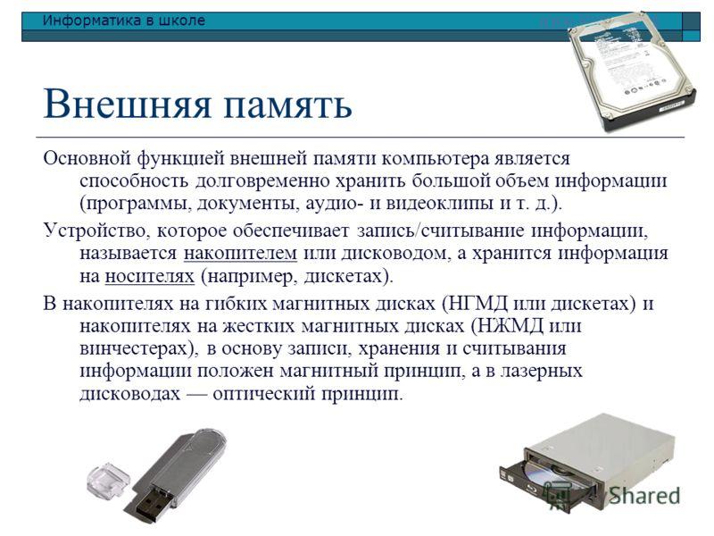 Информатика в школе www.klyaksa.netwww.klyaksa.net Внешняя память Основной функцией внешней памяти компьютера является способность долговременно хранить большой объем информации (программы, документы, аудио- и видеоклипы и т. д.). Устройство, которое