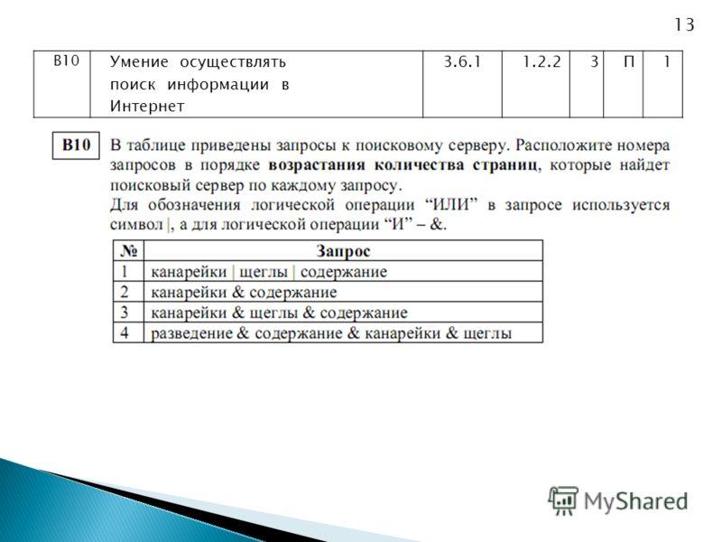 В10 Умение осуществлять поиск информации в Интернет 3.6.11.2.23П1 13