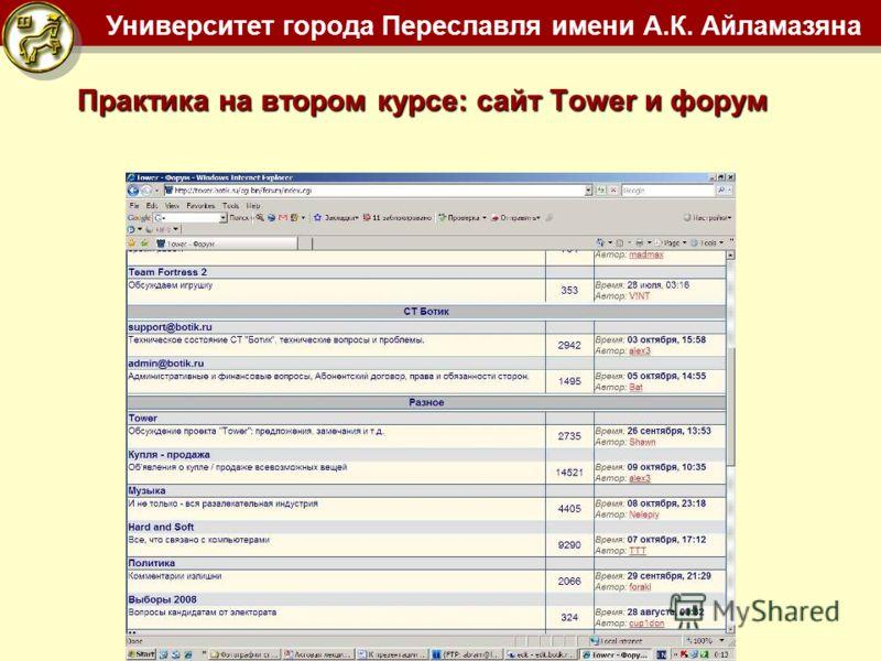 Университет города Переславля имени А.К. Айламазяна Практика на втором курсе: сайт Tower и форум