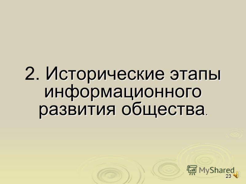 23 2. И ИИ Исторические этапы информационного развития общества.