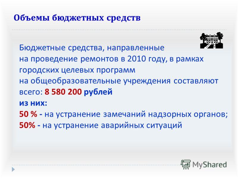 Бюджетные средства, направленные на проведение ремонтов в 2010 году, в рамках городских целевых программ на общеобразовательные учреждения составляют всего : 8 580 200 рублей из них : 50 % - на устранение замечаний надзорных органов ; 50% - на устран