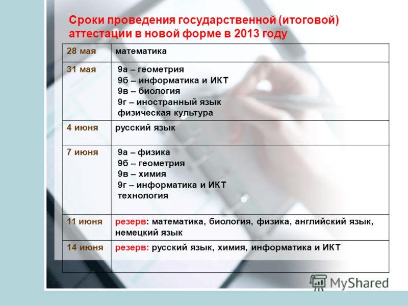 Сроки проведения государственной (итоговой) аттестации в новой форме в 2013 году 28 маяматематика 31 мая 9а – геометрия 9б – информатика и ИКТ 9в – биология 9г – иностранный язык физическая культура 4 июнярусский язык 7 июня 9а – физика 9б – геометри