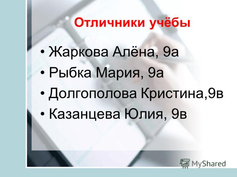 Отличники учёбы Жаркова Алёна, 9а Рыбка Мария, 9а Долгополова Кристина,9в Казанцева Юлия, 9в