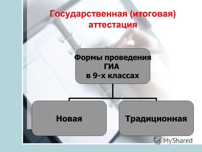 Государственная (итоговая) аттестация Формы проведения ГИА в 9-х классах НоваяТрадиционная