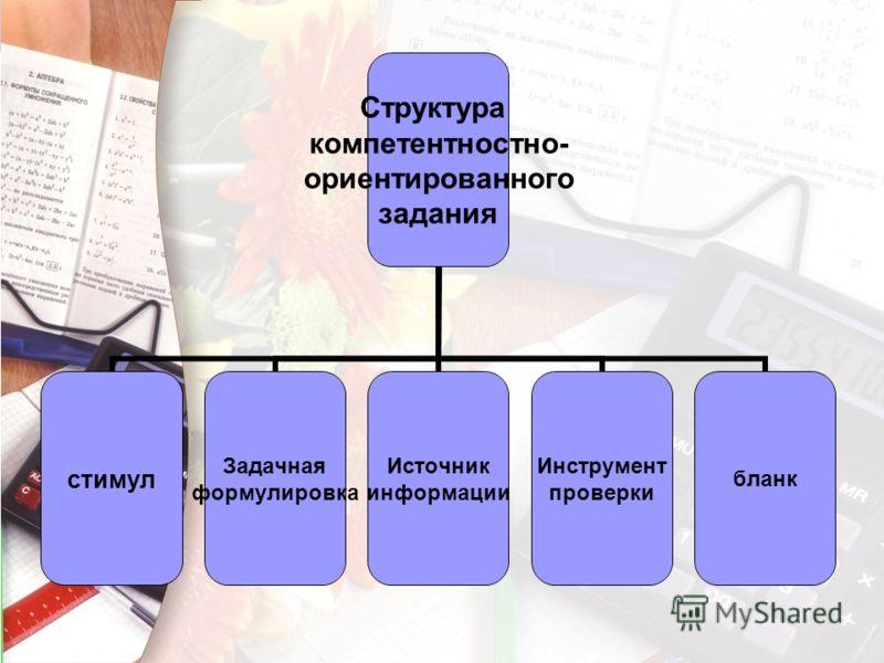 Структура компетентностно- ориентированного задания стимул Задачная формулировка Источник информации Инструмент проверки бланк