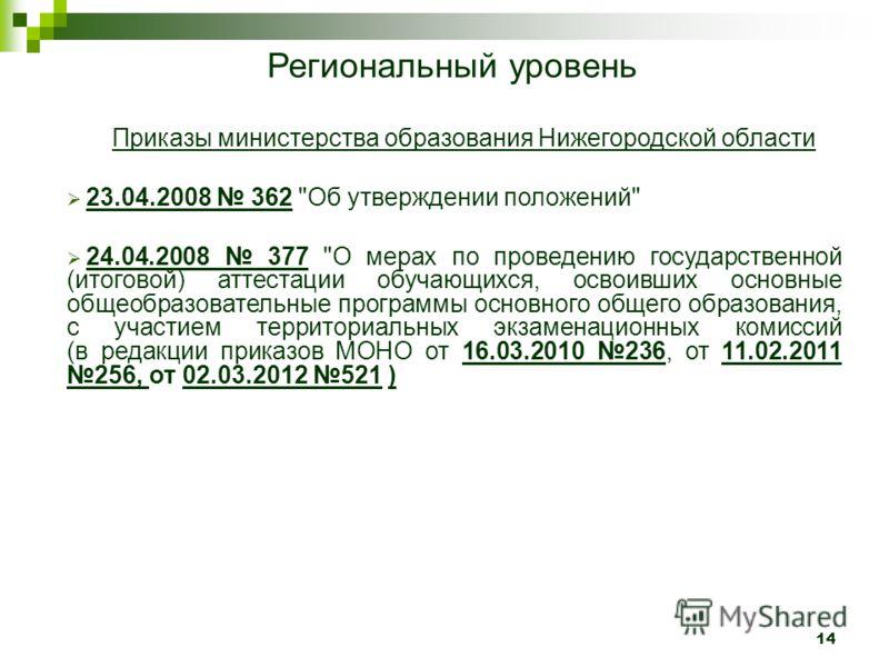 14 Региональный уровень Приказы министерства образования Нижегородской области 23.04.2008 362