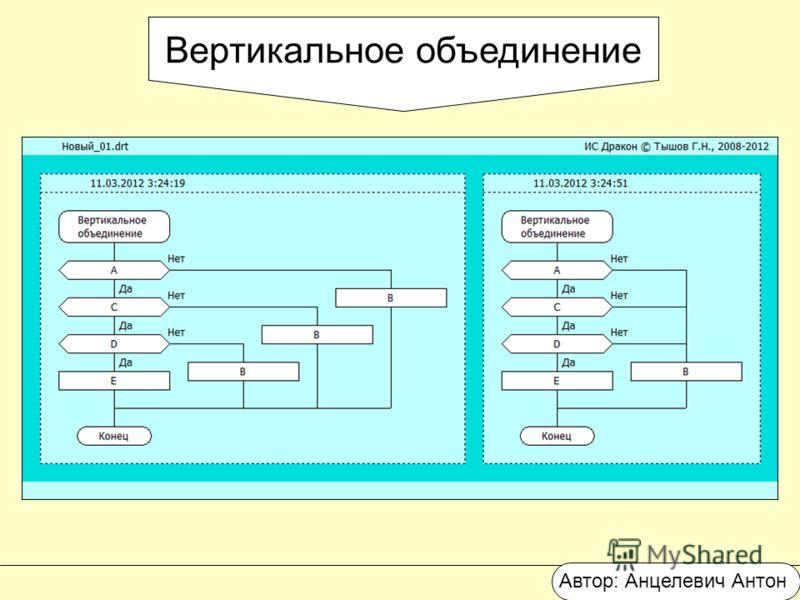 Вертикальное объединение Автор: Анцелевич Антон