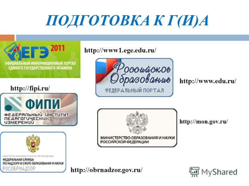 ПОДГОТОВКА К Г(И)А http://www1.ege.edu.ru/ http://www.edu.ru / http://fipi.ru/ http://mon.gov.ru/ http://obrnadzor.gov.ru/