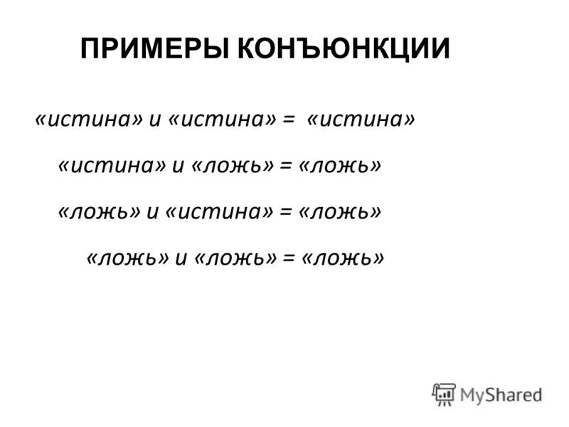 «истина» и «истина» = «истина» «истина» и «ложь» = «ложь» «ложь» и «истина» = «ложь» «ложь» и «ложь» = «ложь» ПРИМЕРЫ КОНЪЮНКЦИИ