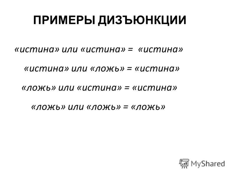 «истина» или «истина» = «истина» «истина» или «ложь» = «истина» «ложь» или «истина» = «истина» «ложь» или «ложь» = «ложь» ПРИМЕРЫ ДИЗЪЮНКЦИИ