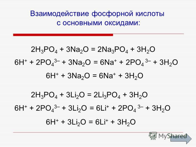 Взаимодействие фосфорной кислоты с основными оксидами: 2H 3 PO 4 + 3Na 2 O = 2Na 3 PO 4 + 3H 2 O 6H + + 2PO 4 3– + 3Na 2 O = 6Na + + 2PO 4 3– + 3H 2 O 6H + + 3Na 2 O = 6Na + + 3H 2 O 2H 3 PO 4 + 3Li 2 O = 2Li 3 PO 4 + 3H 2 O 6H + + 2PO 4 3– + 3Li 2 O
