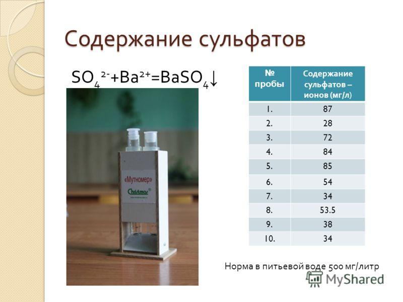 Содержание сульфатов SO 4 2- +Ba 2+ =BaSO 4 пробы Содержание сульфатов – ионов ( мг / л ) 1.87 2.28 3.72 4.84 5.85 6.54 7.34 8.53.5 9.38 10.34 Норма в питьевой воде 500 мг/литр