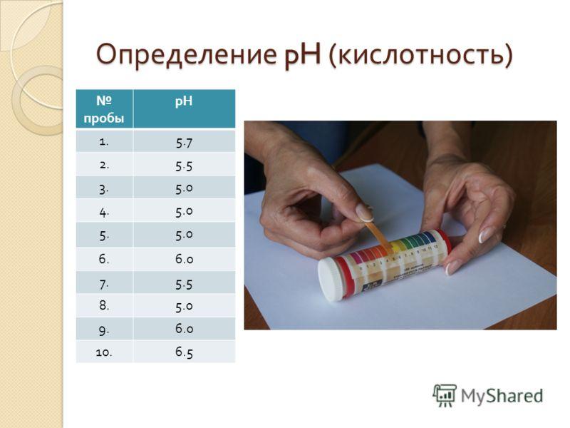 Определение pH ( кислотность ) пробы рН 1.5.7 2.5.5 3.5.0 4.5.0 5.5.0 6.6.0 7.5.5 8.5.0 9.6.0 10.6.5