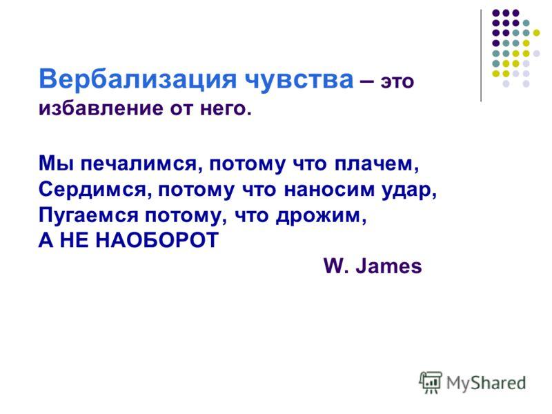 Вербализация чувства – это избавление от него. Мы печалимся, потому что плачем, Сердимся, потому что наносим удар, Пугаемся потому, что дрожим, А НЕ НАОБОРОТ W. James