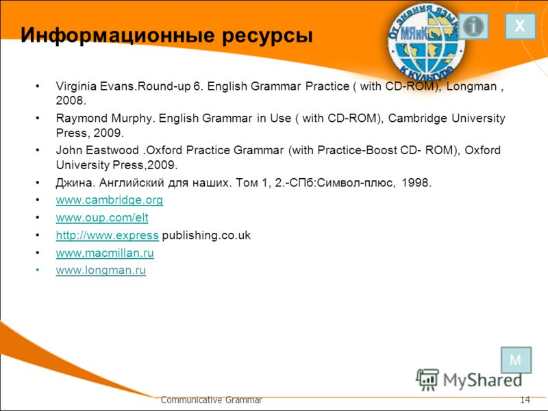 Информационные ресурсы Virginia Evans.Round-up 6. English Grammar Practice ( with CD-ROM), Longman, 2008. Raymond Murphy. English Grammar in Use ( with CD-ROM), Cambridge University Press, 2009. John Eastwood.Oxford Practice Grammar (with Practice-Bo