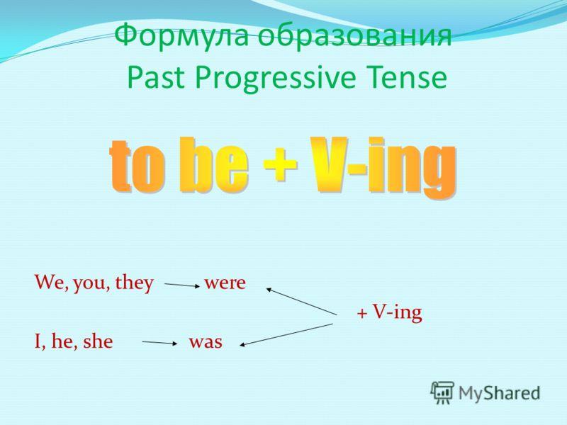 Формула образования Past Progressive Tense