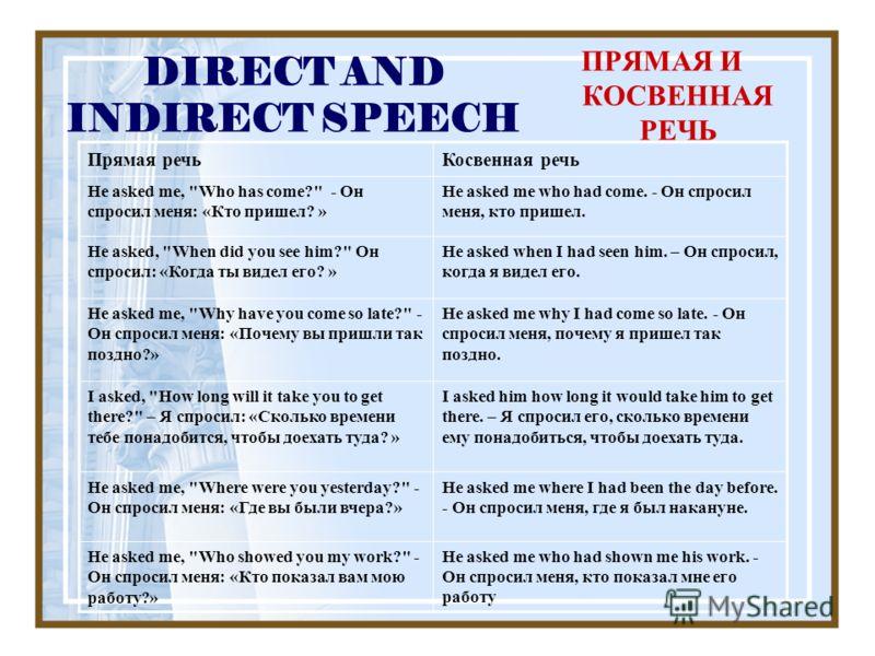 DIRECT AND INDIRECT SPEECH ПРЯМАЯ И КОСВЕННАЯ РЕЧЬ Прямая речьКосвенная речь He asked me,