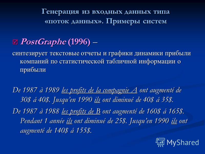 PostGraphe (1996) – PostGraphe (1996) – синтезирует текстовые отчеты и графики динамики прибыли компаний по статистической табличной информации о прибыли De 1987 à 1989 les profits de la compagnie A ont augmenté de 30$ á 40$. Jusquen 1990 ils ont dim