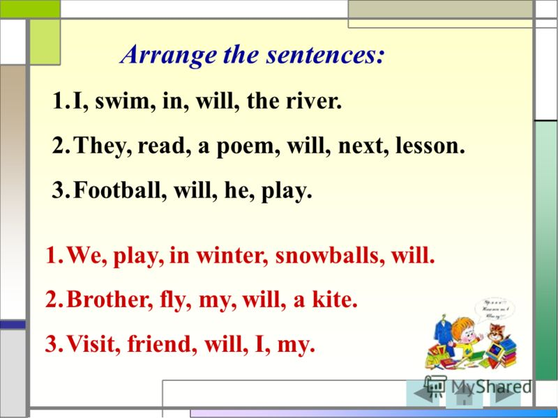 Arrange the sentences: 1.I, swim, in, will, the river. 2.They, read, a poem, will, next, lesson. 3.Football, will, he, play. 1.We, play, in winter, snowballs, will. 2.Brother, fly, my, will, a kite. 3.Visit, friend, will, I, my.