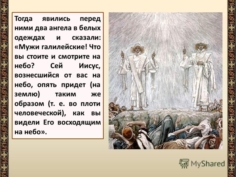 Ученики поклонились вознесшемуся Господу и долго продолжали стоять и смотреть на небо вслед Ему.